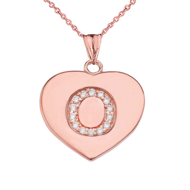 """Diamond Initial """"O"""" Heart Pendant Necklace in Rose Gold"""