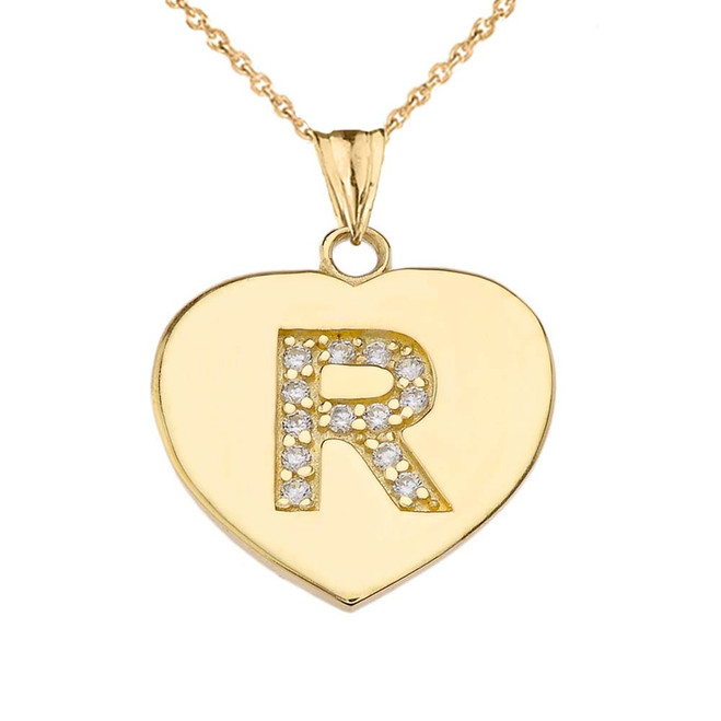 """Diamond Initial """"R"""" Heart Pendant Necklace in Yellow Gold"""