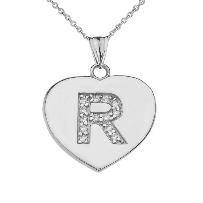 """Diamond Initial """"R"""" Heart Pendant Necklace in White Gold"""