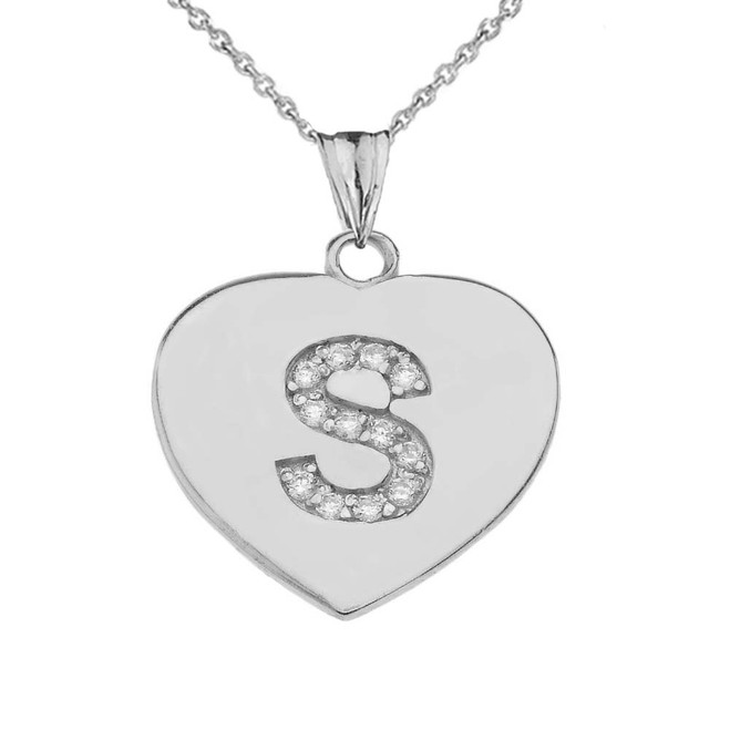 """CZ Initial """"S"""" Heart Pendant Necklace in Sterling Silver"""