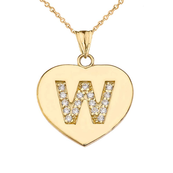 """Diamond Initial """"W"""" Heart Pendant Necklace in Yellow Gold"""