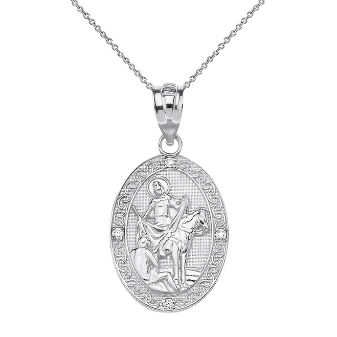 "Solid White Gold Engravable Diamond Saint Martin of Tours Pray For Us Oval Pendant Necklace  (1.04"")"