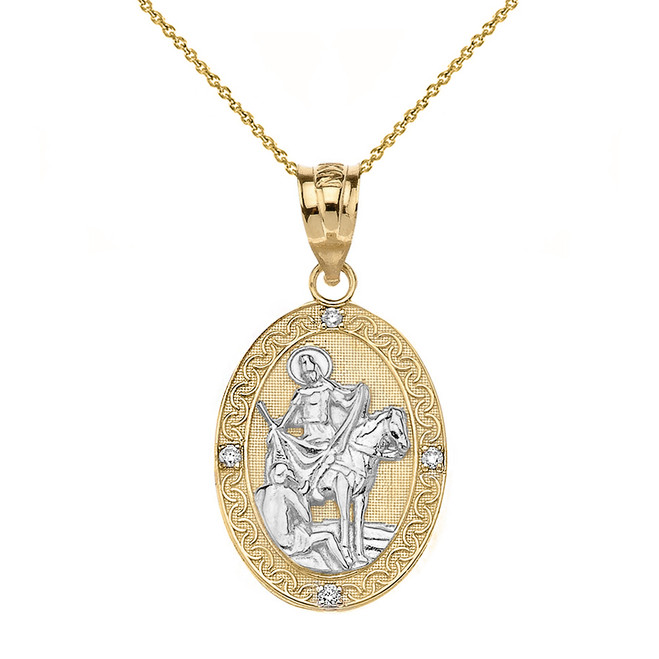 "Solid Two Tone Yellow Gold Engravable Diamond Saint Martin of Tours Pray For Us Oval Pendant Necklace  (1.04"")"