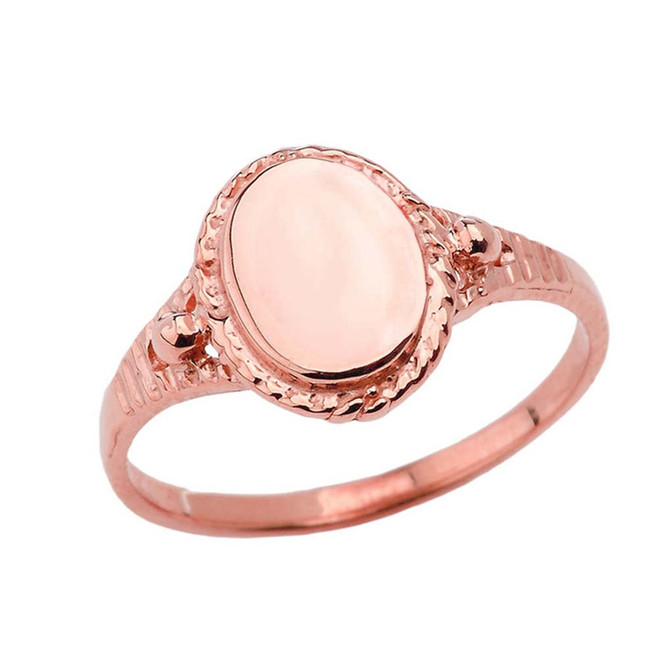 Milgrain Engravable Oval Signet Ring in Rose Gold