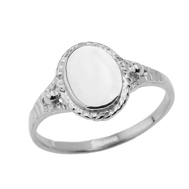Milgrain Engravable Oval Signet Ring in White Gold