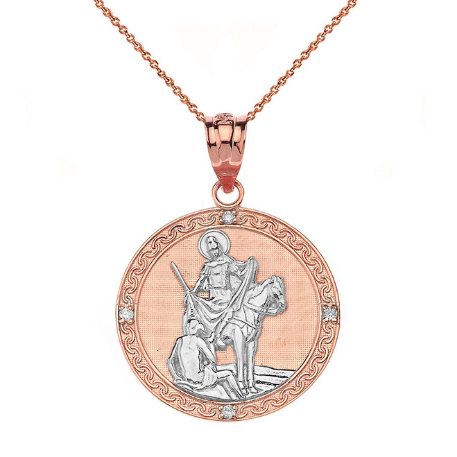 "Solid Two Tone Rose Gold Engravable Diamond Saint Martin of Tours Pray For Us Circle Pendant Necklace  (1.04"")"