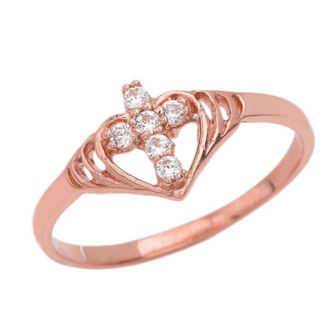 Heart with Cubic Zirconia Studded Cross Ring in Rose Gold