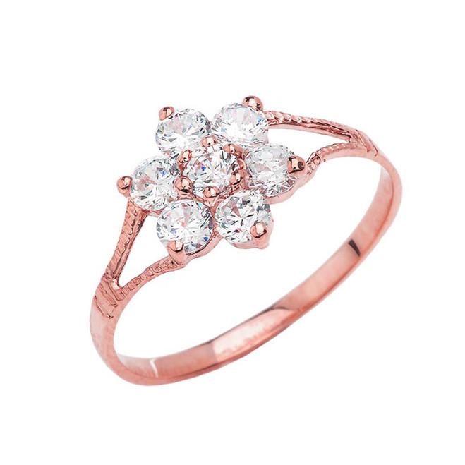Dainty Milgrain Flower CZ Ring in Rose Gold