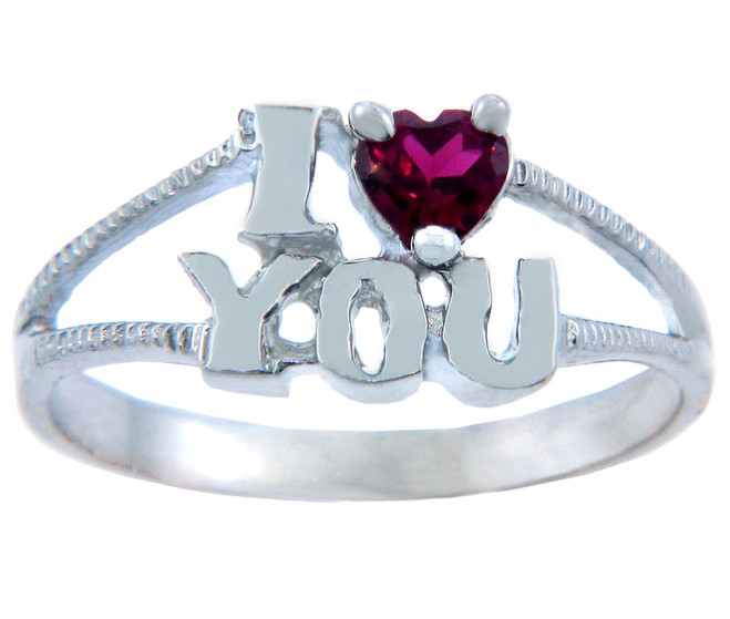 Ladies CZ Rings - I Heart You CZ Ring in Sterling Silver