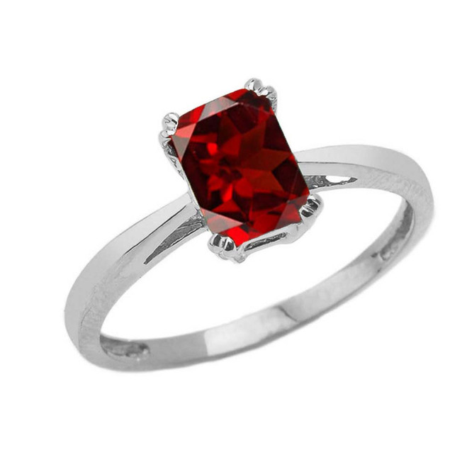 1 CT Emerald Cut Garnet CZ Solitaire Ring in White Gold