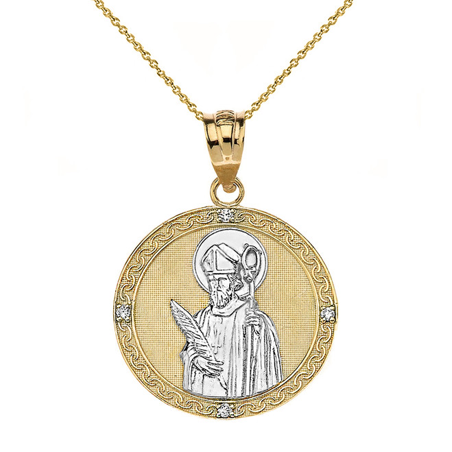 "Solid Two Tone Yellow Gold Engravable Diamond Saint Valentine Pray For Us Circle Pendant Necklace  (1.04"")"