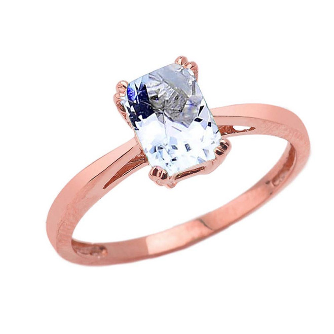 1 CT Emerald Cut Aquamarine CZ Solitaire Ring in Rose Gold