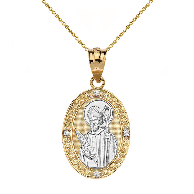 "Solid Two Tone Yellow Gold Engravable Diamond Saint Valentine Pray For Us Oval Pendant Necklace  (1.04"")"