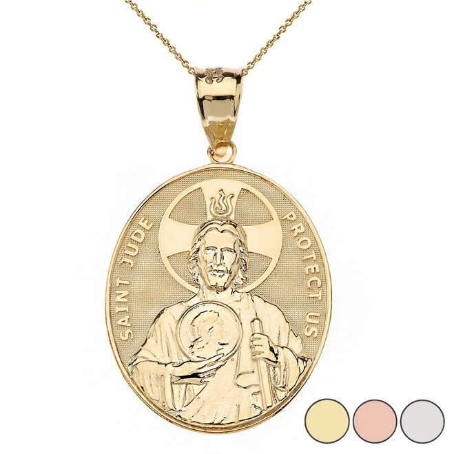 """Large Saint Jude Protect Us Oval Pendant Necklace  (1.32"""") in Gold (Yellow/Rose/White)"""