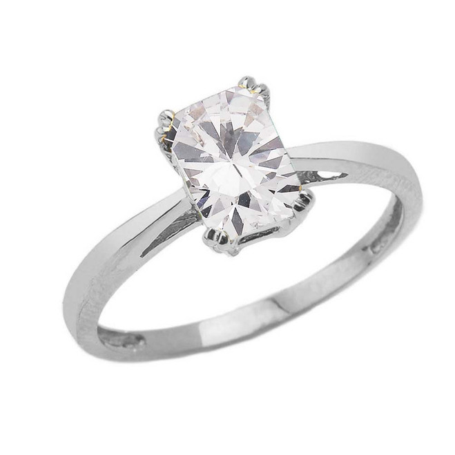 1 CT Emerald Cut CZ Solitaire Ring in White Gold
