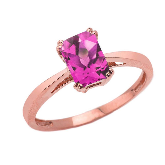 1 CT Emerald Cut Alexandrite CZ Solitaire Ring in Rose Gold