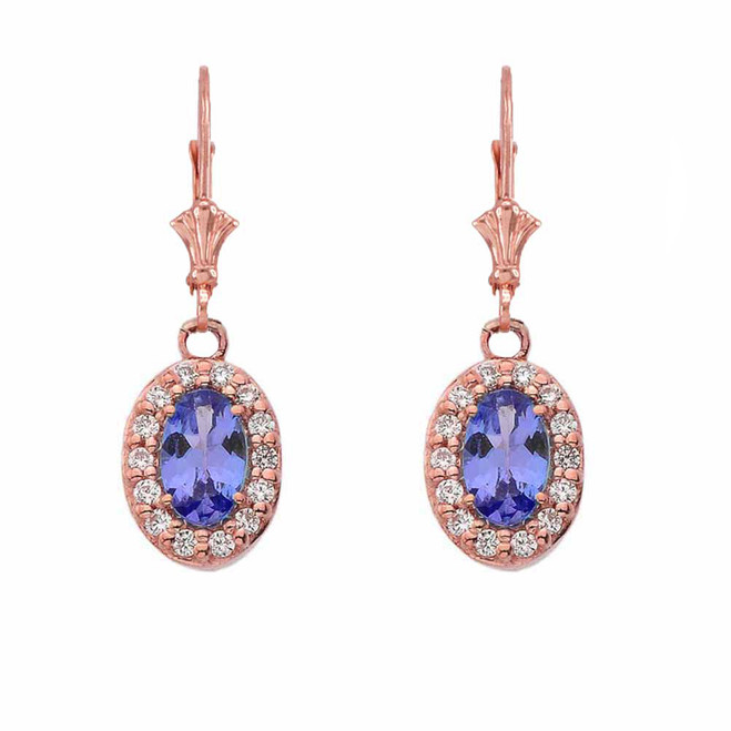 Diamond and Tanzanite Oval Leverback Earrings in Rose Gold