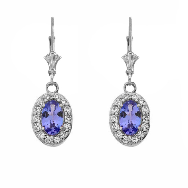 Diamond and Tanzanite Oval Leverback Earrings in White Gold