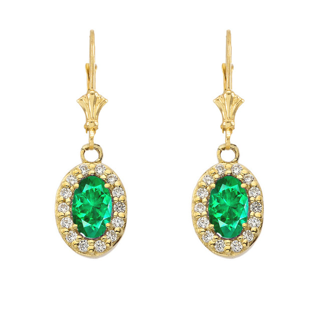 Diamond and Emerald Oval Leverback Earrings in Yellow Gold