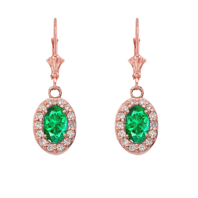 Diamond and Emerald Oval Leverback Earrings in Rose Gold