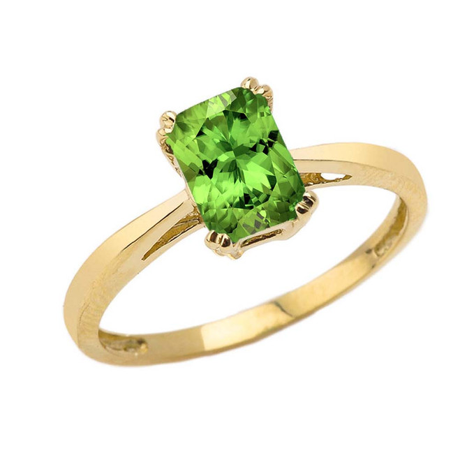 1 CT Emerald Cut Peridot CZ Solitaire Ring in Yellow Gold