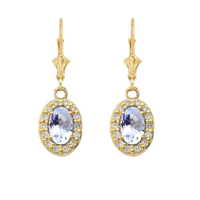 Diamond and Aquamarine Oval Leverback Earrings in Yellow Gold