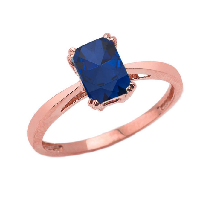 1 CT Emerald Cut Sapphire CZ Solitaire Ring in Rose Gold