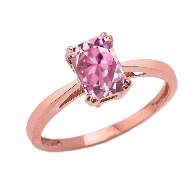 1 CT Emerald Cut Pink CZ Solitaire Ring in Rose Gold