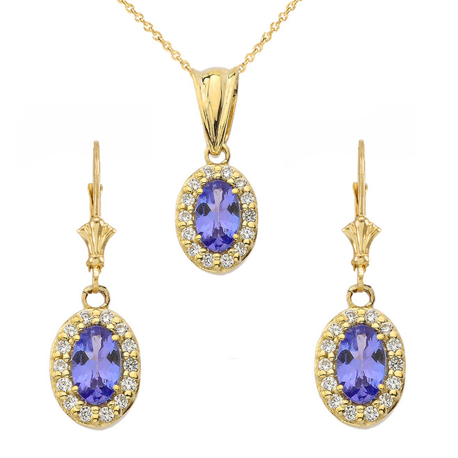 Diamond and Tanzanite Oval Pendant Necklace and Earrings Set in Yellow Gold