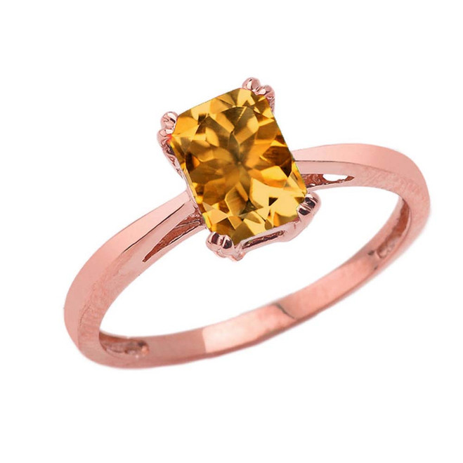 1 CT Emerald Cut Citrine CZ Solitaire Ring in Rose Gold