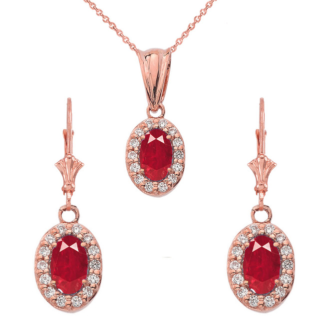 Diamond and Ruby Oval Pendant Necklace and Earrings Set in 14k Rose  Gold
