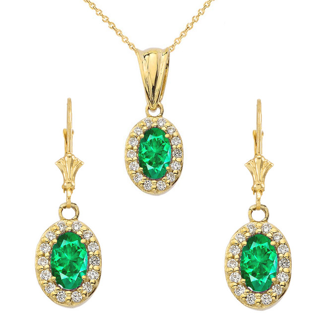 Diamond and Emerald Oval Pendant Necklace and Earrings Set in Yellow Gold
