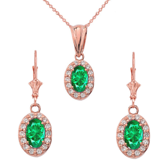 Diamond and Emerald Oval Pendant Necklace and Earrings Set in 14K Rose Gold