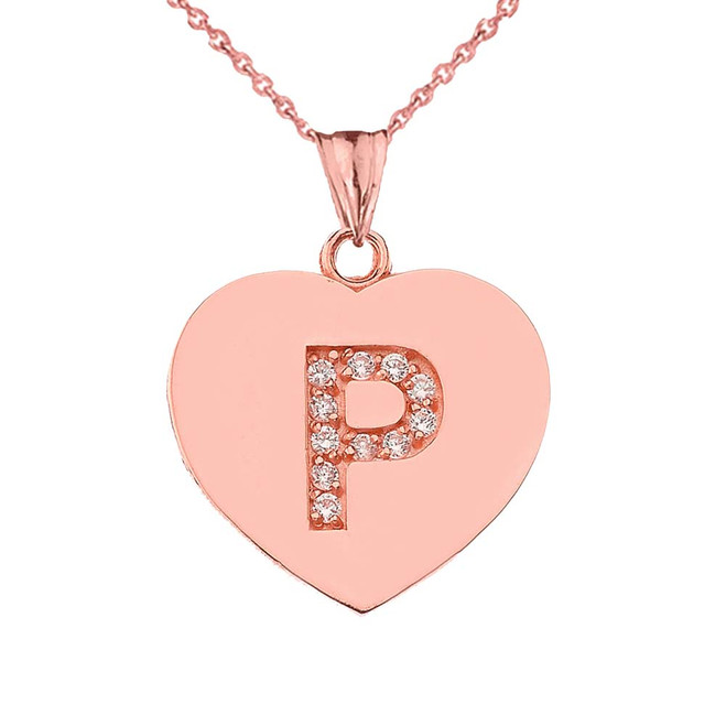 """Diamond Initial """"P"""" Heart Pendant Necklace in Rose Gold"""