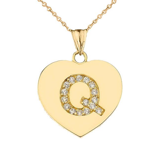 """Diamond Initial """"Q"""" Heart Pendant Necklace in Yellow Gold"""