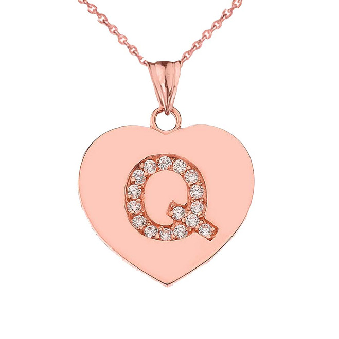"""Diamond Initial """"Q"""" Heart Pendant Necklace in Rose Gold"""