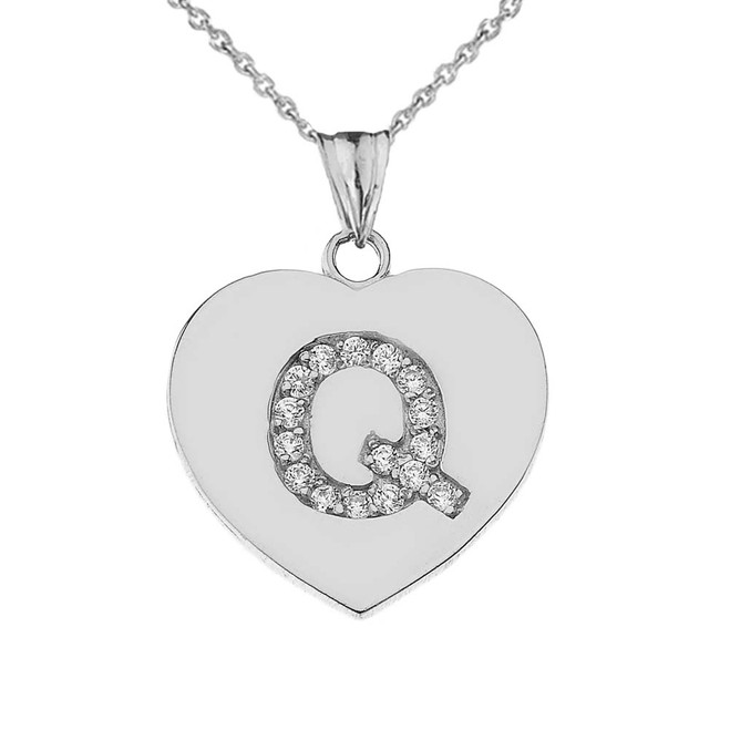 """Diamond Initial """"Q"""" Heart Pendant Necklace in White Gold"""