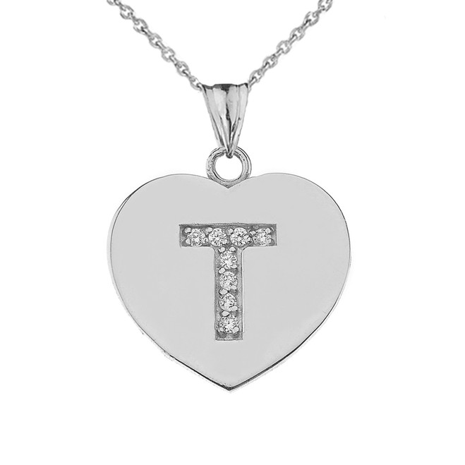 """CZ Initial """"T"""" Heart Pendant Necklace in Sterling Silver"""