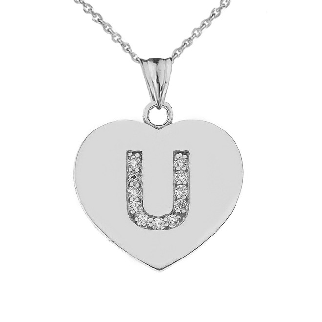 """CZ Initial """"U"""" Heart Pendant Necklace in Sterling Silver"""