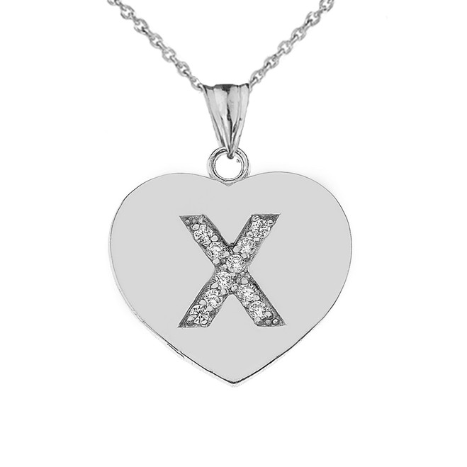 """CZ Initial """"X"""" Heart Pendant Necklace in Sterling Silver"""