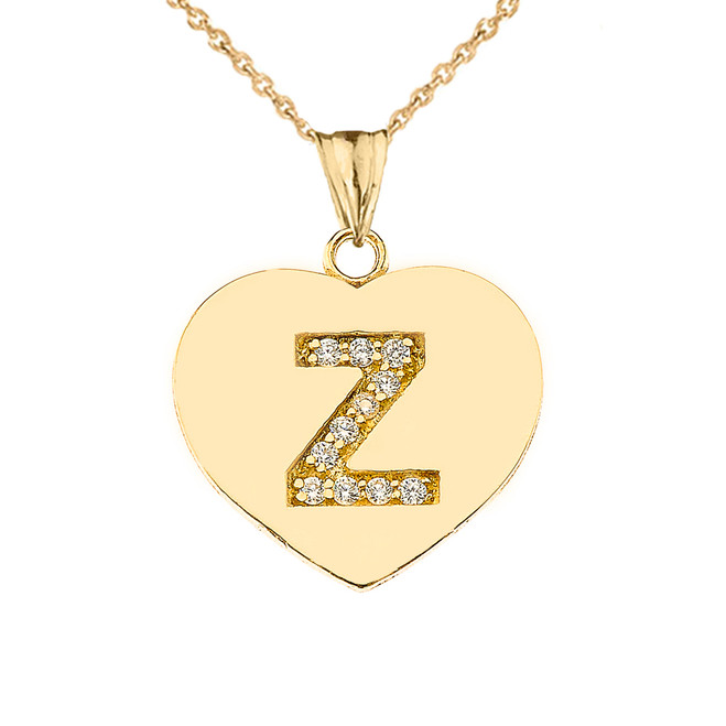 "Diamond Initial ""Z"" Heart Pendant Necklace in Yellow Gold"