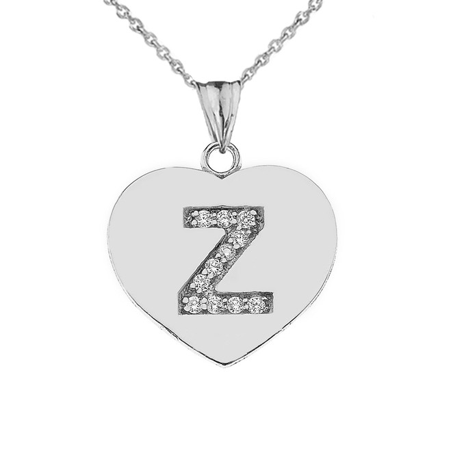 """Diamond Initial """"Z"""" Heart Pendant Necklace in White Gold"""