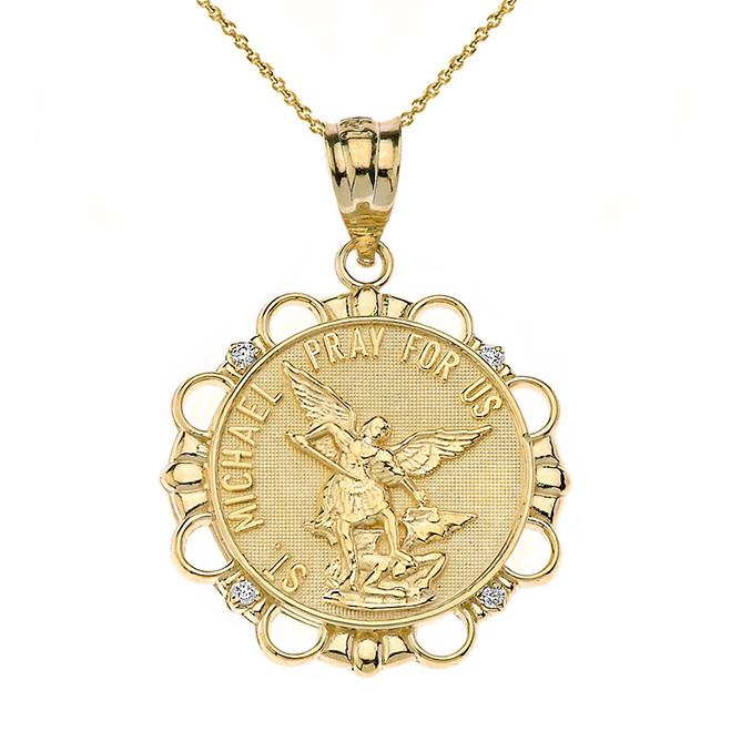Solid Yellow Gold Diamond Saint Michael Pray For Us Circle Pendant Necklace