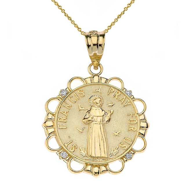 Solid Yellow Gold Diamond Saint Francis Pray For Us Circle Pendant Necklace