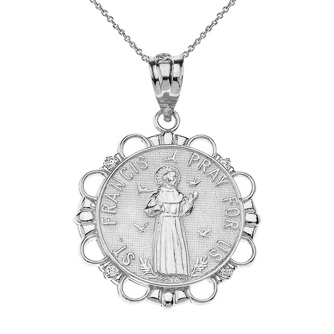 Solid White Gold Diamond Saint Francis Pray For Us Circle Pendant Necklace