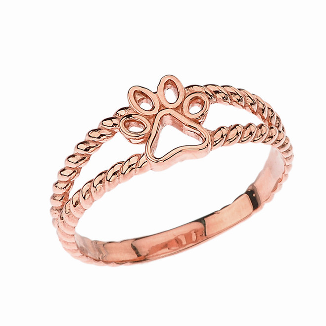 Openwork Dog Paw Ring in Rose Gold