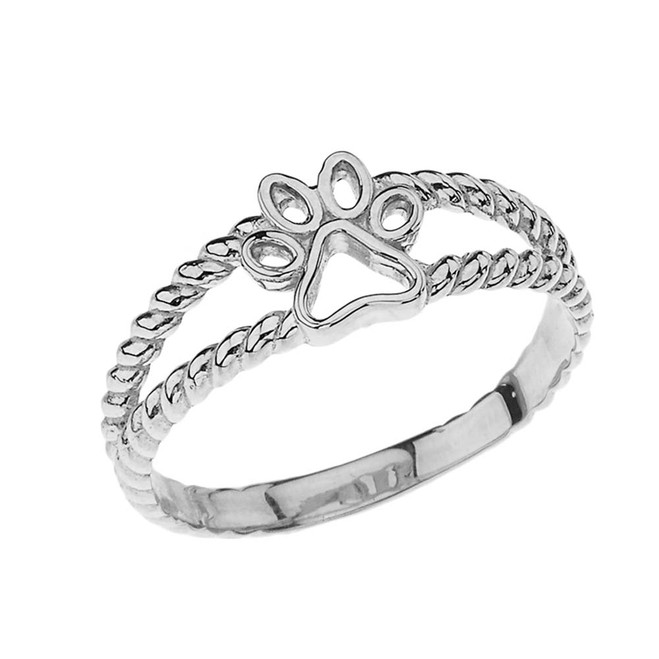 Openwork Dog Paw Ring in White Gold