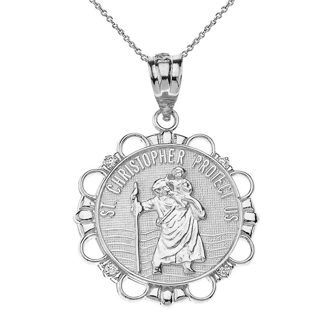 Sterling Silver CZ Saint Christopher Pray For Us Circle Pendant Necklace