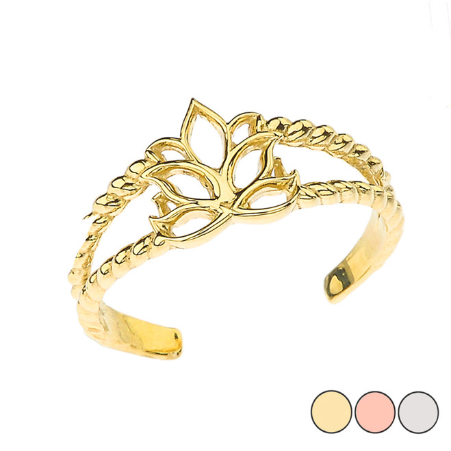 Lotus Flower Rope Toe Ring in Gold (Yellow/ Rose/ White)