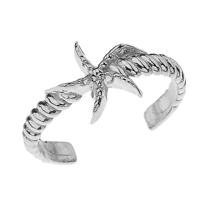 Starfish Rope Toe Ring in White Gold